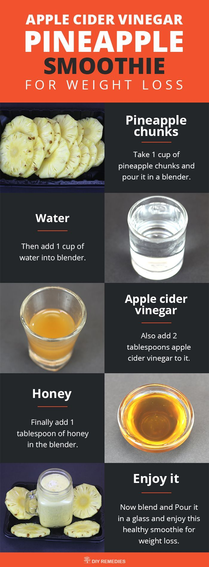 Apple Cider Vinegar Pineapple Smoothie for Weight Loss Ingredients: Apple cider vinegar – 2 tablespoons, Pineapple chunks – 1 cup, Honey – 1 tablespoon, Water – 1 cup