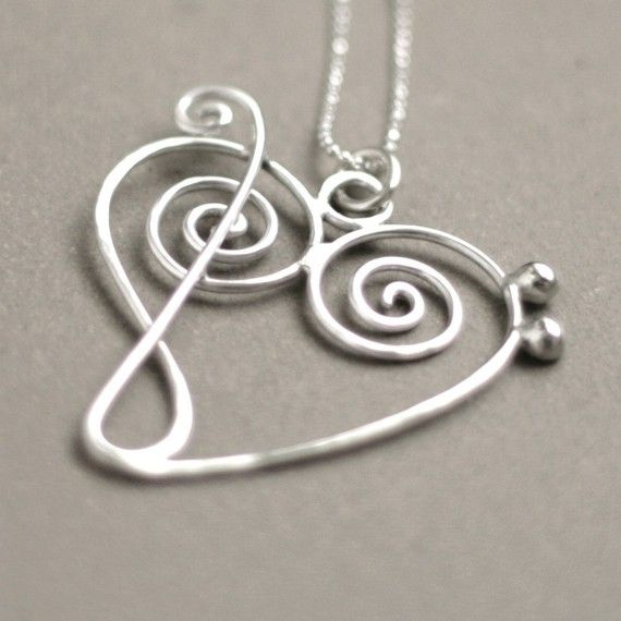 : Music Jewelry, Style, Music Heart, Heart Necklaces, Sterling Silver, Tattoo, Heart Key