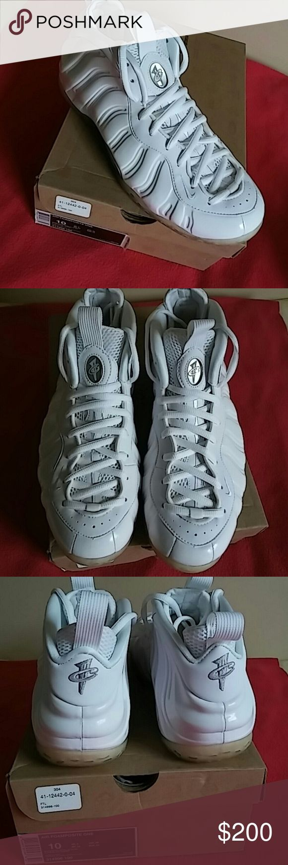 Brand New Deadstock Air Foamposite One Wht Met Slv Brand New DEADSTOCK AIR FOAMPOSITE ONE...White Metallic Silver Size 10... Deadstock!!!. Color is all White..beautiful clear bright white with metallic silver and black at the sides and bottom... Retail for $260...Price is a steal!! Nike Shoes Sneakers