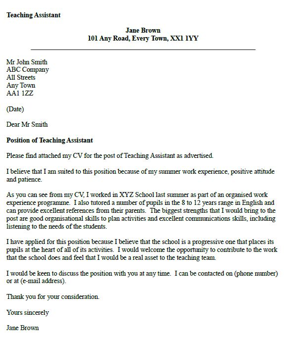 teaching assistant cover letter example - Covering Letter Format For Job Application