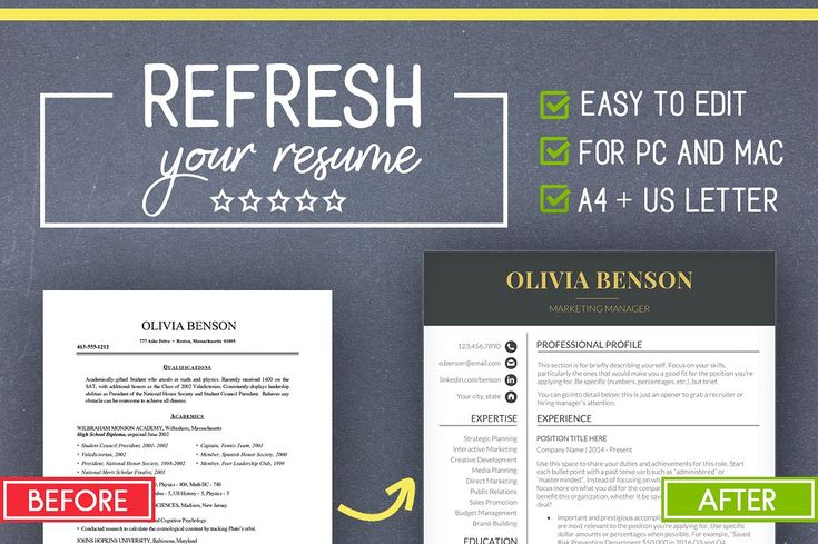Resume Template for MS Word (Mac/PC) by LevelUpResume on @creativemarket