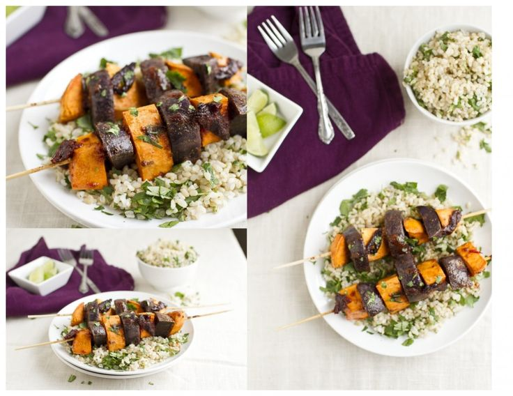 Chipotle Sweet Potato Skewers with Cilantro Lime Rice Brown Rice ...