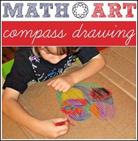 Compass math art drawing for kids