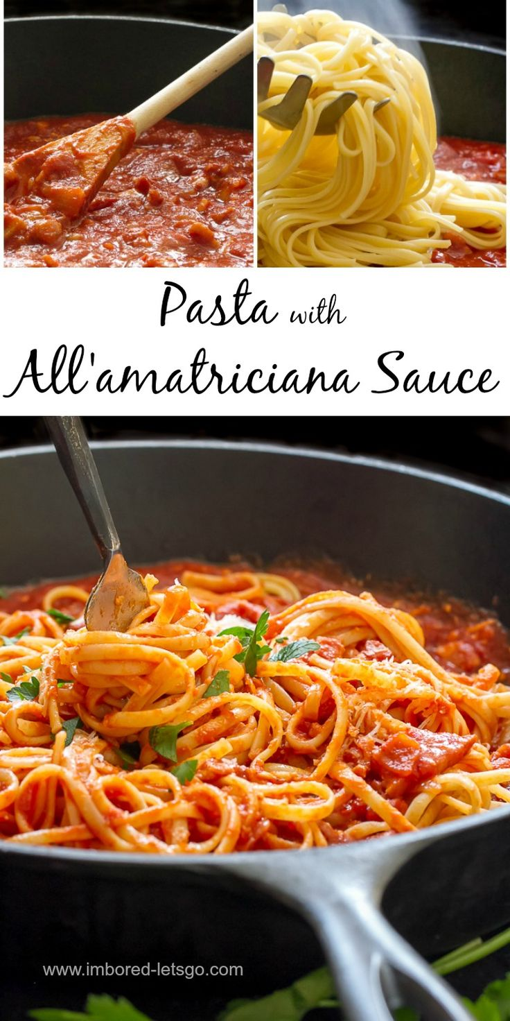 "All'amatriciana sauce is a simple, delicious and quick pasta sauce with pancetta, onions and tomatoes.  It's tasty and satisfying.  If you're watching your carbs, give it a try on zucchini noodles ""zoodles"""