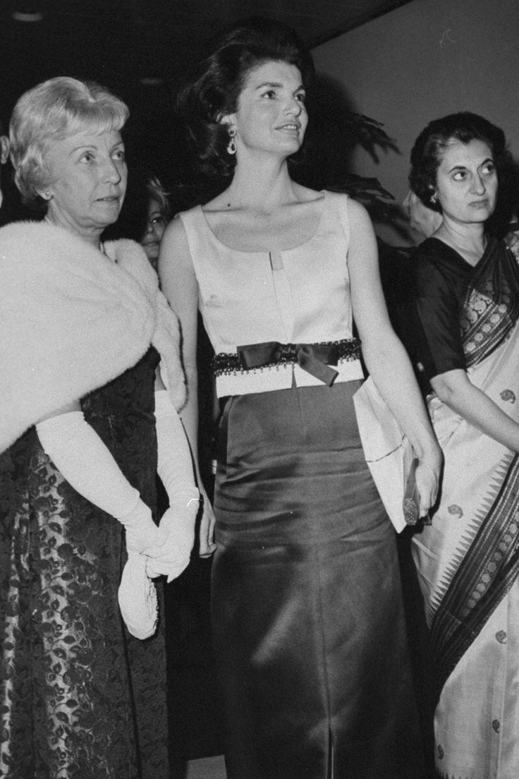 "mrsjohnfkennedy: "" Jackie Kennedy with Miss Humphrey and Mrs. Indira Gandhi at a Nehru exhibit in New York City, January 28, 1965. """