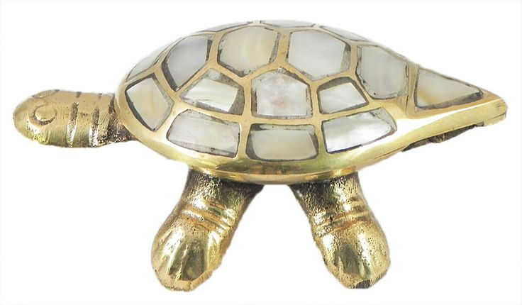 Shell Tortoise Kumkum Container with Brass (Shell and Brass)