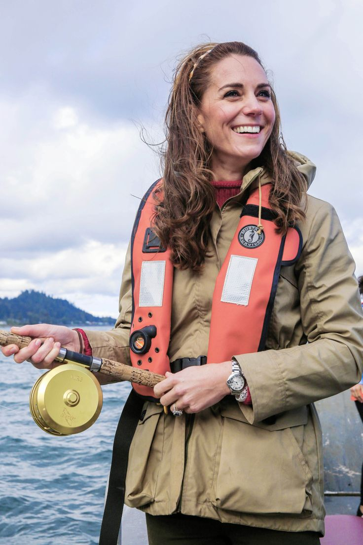 The Duchess of Cambridge out on a fishing trip with Skidegate youth centre children during the Royal Tour of Canada on September 30, 2016 in Carcross, Canada