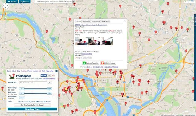 Five Best Apartment Search Tools by Lifehacker: PadMapper (owned by Padlister pulls ads from Craigslist), Hotpads (owned by Zillow, but pulls from CL too), Lovely (owned by RentPath, which also owns Apt Guide & Rent.com), Trulia (which Zillow is trying to buy pending FTC approval) and Walk Score (which was just purchased by Redfin). #NerdMentor