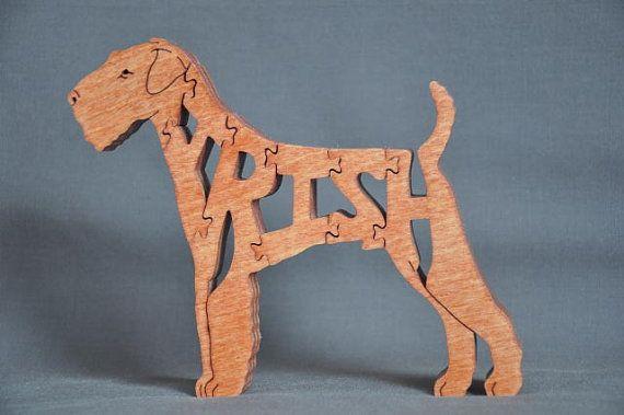Terrier irlandés perro rompecabezas juguetes de madera mano cortada con Sierra de marquetería