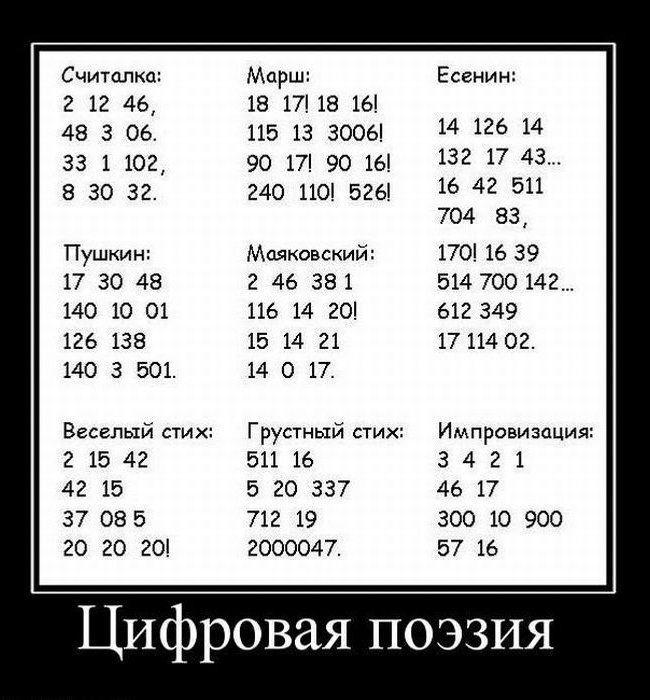 Картинка с смешными цифрами и стешком