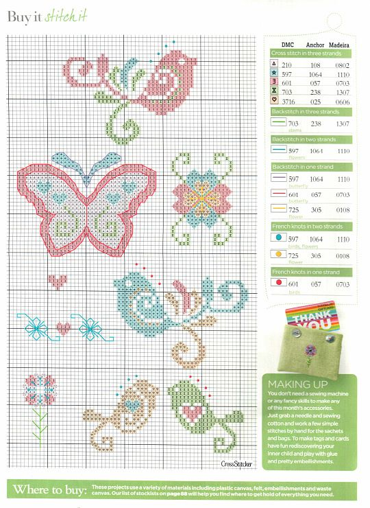 cross stitch birds and butterfly