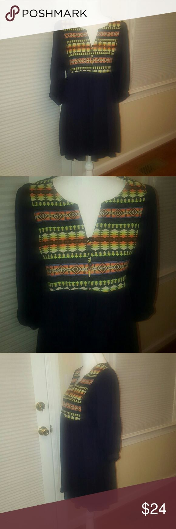 NEW Umgee boho Aztec dress Small New with tags Umgee Aztec print black cotton dress.  Beautiful, would be so fun for any occasion! Umgee Dresses Mini