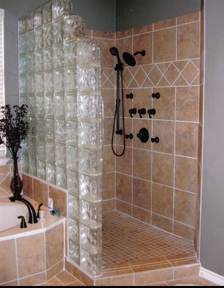 Shower with glass blocks