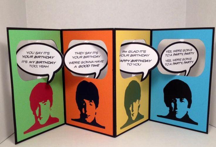 Angela Clerehugh Diesire Accordion Rectangle Base Die Die – Beatles Birthday Cards