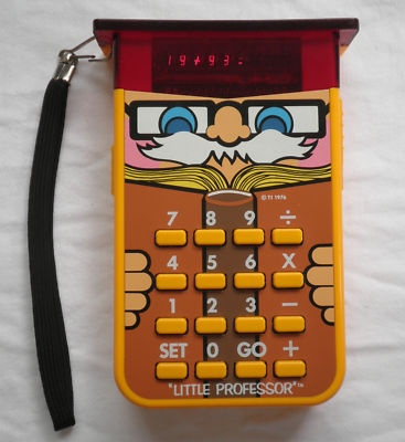 my sisters and I just had a freak-out moment about this TI Little Professor Calculator. We all vaguely remember this from our childhood, but it's been FOREVER since we thought about it! Love these moments.