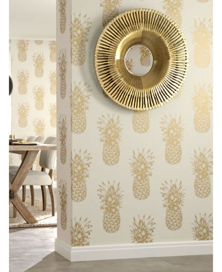 This Tropics Gold Copacabana Pineapple Wallpaper creates a bright and stylish interior which would be perfect in a guest bedroom
