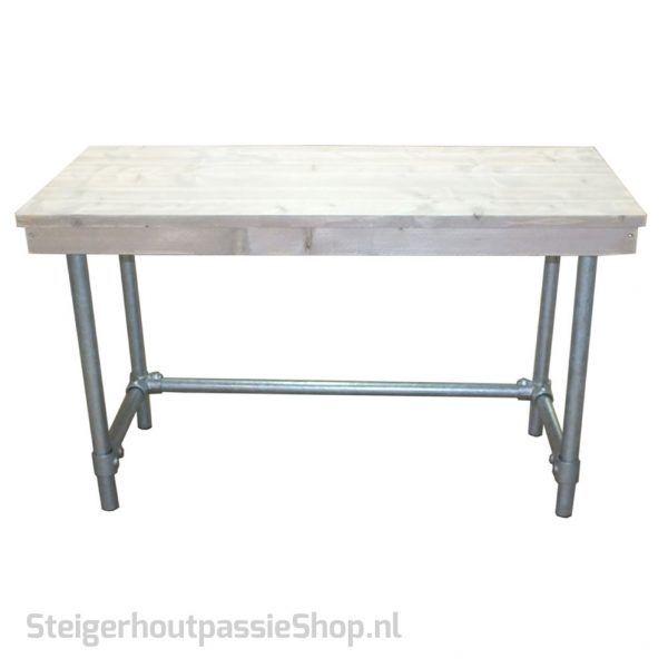 Steigerhouten Bureau Lucas - Lekker industrieel met buizen onderstel.