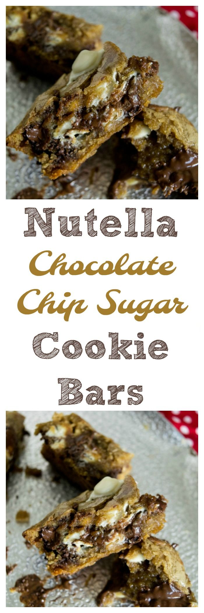 Looking for a Nutella cookie recipe? Look no farther. These Nutella Chocolate Chip Sugar Cookie Bars are so good and take cookie bars to a new level. via @debitalks
