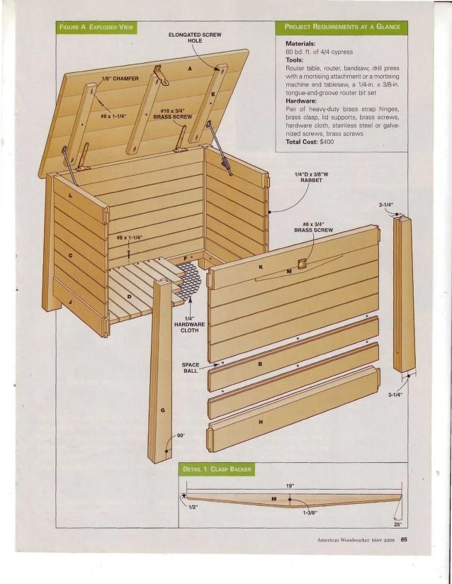 American Woodworker May 2005 - Backyard Projects--archive.org has 165 back issues you can look at:  https://archive.org/search.php?query=subject%3A%22American+Woodworker+Magazine%22&page=1