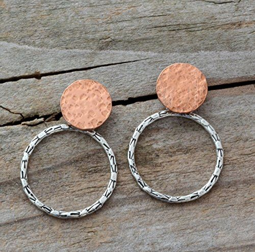 Little circle front back earring jackets small sterling silver hammered hoop earrings copper post studs doublesided mixed metal jewelry