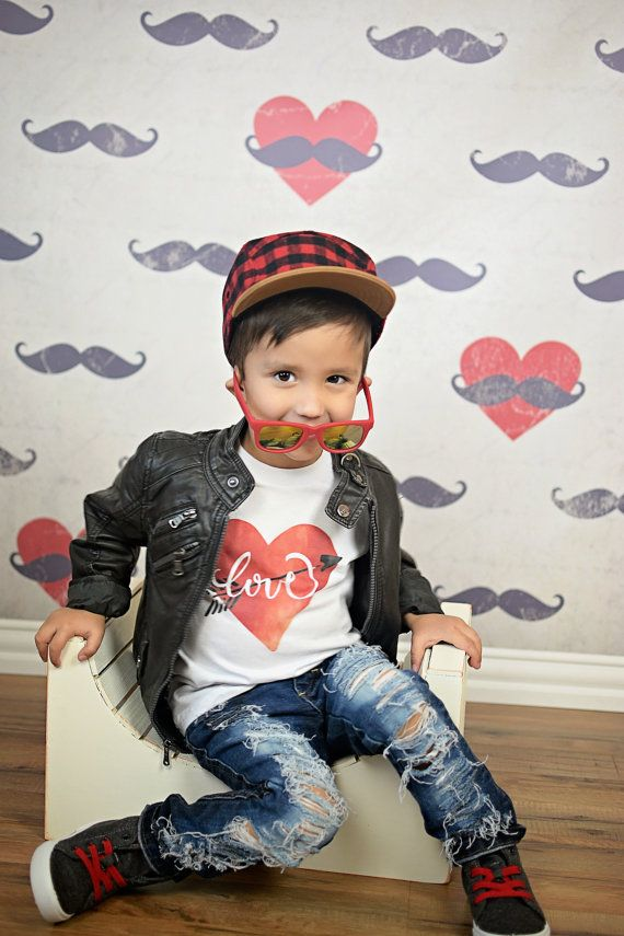 Kids T-shirt American Apparel Love Hearts by CottonandFernDesign
