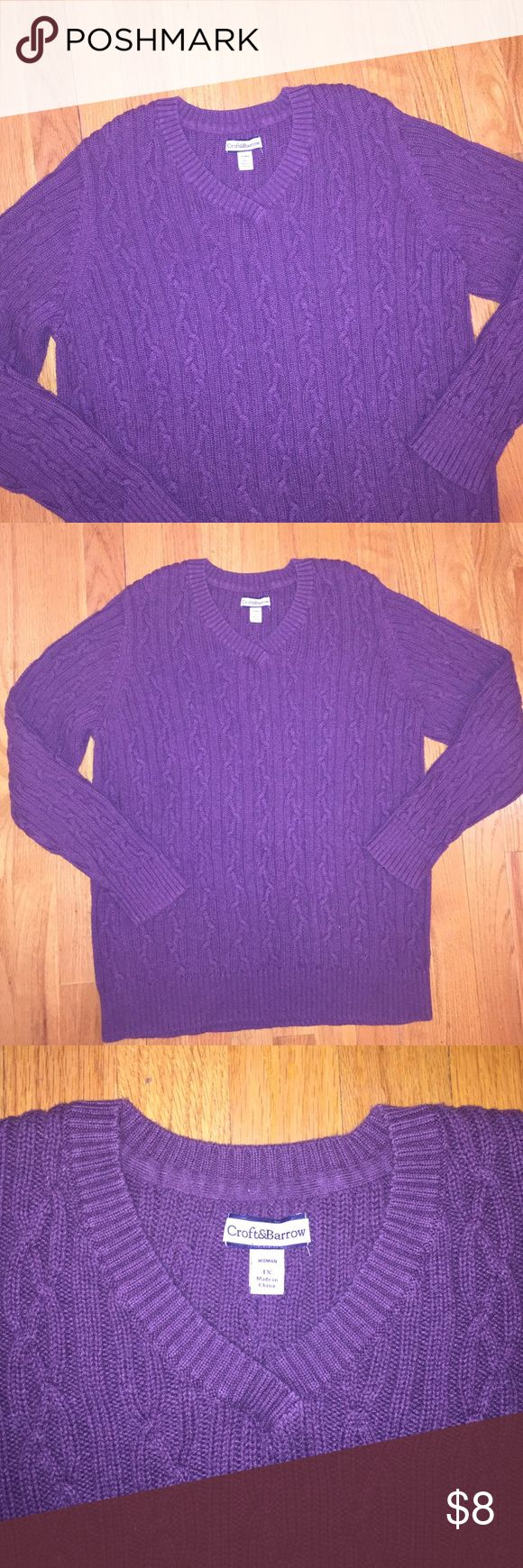 Women's Croft & Barrow Sweater Size 1X Women's Croft & Barrow Long Sleeve Sweater Size 1X. Purple. 100% Cotton. croft & barrow Sweaters