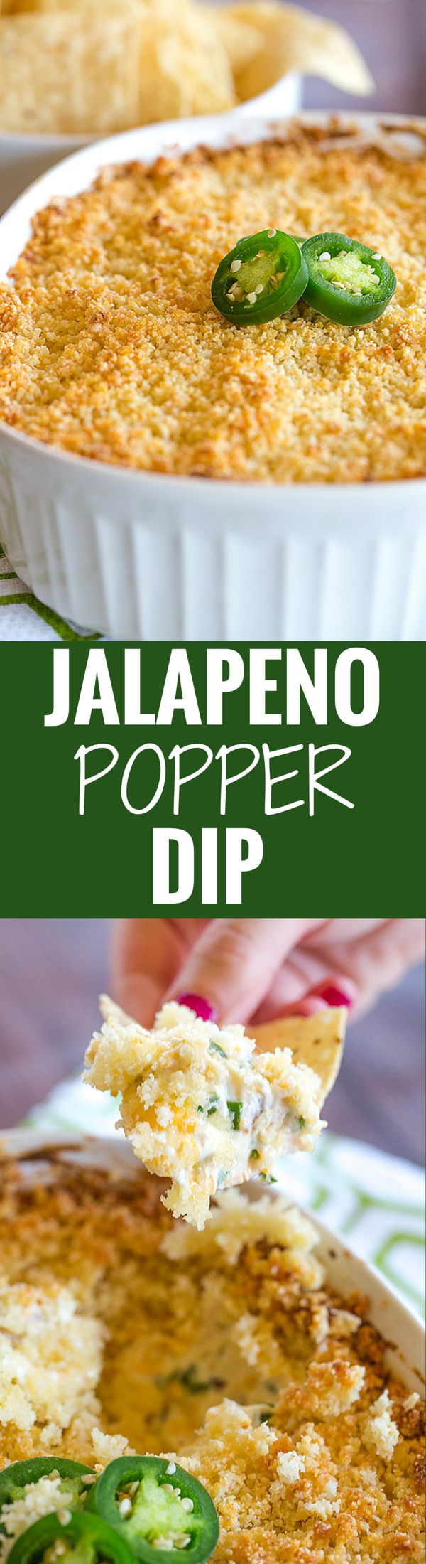 Jalapeno Popper Dip is creamy, cheesy and has just the perfect amount of kick. Great appetizer for your next party or watching the big game!