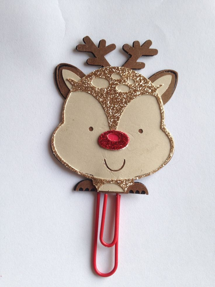 Reindeer Planner Clip - Red Paperclip by CleverDesignCharms on Etsy