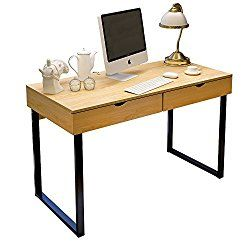 Dland Home Office Computer Desk 47″ with Double Drawer Writing Dressing table PC Laptop Modern Workstation, Teak