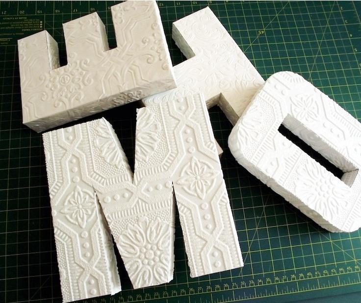 "DIY anaglypta ""home"" letters"