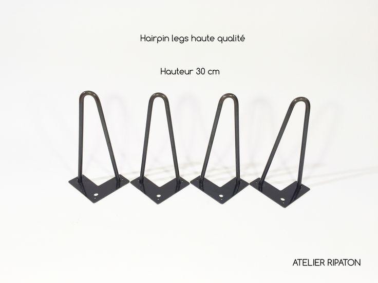 Hairpin Legs / Pied en épingle en acier soudé et assemblé à la main de taille 30cm composé de 3 perçages de diamètre 0,5 cm.Prix par unité
