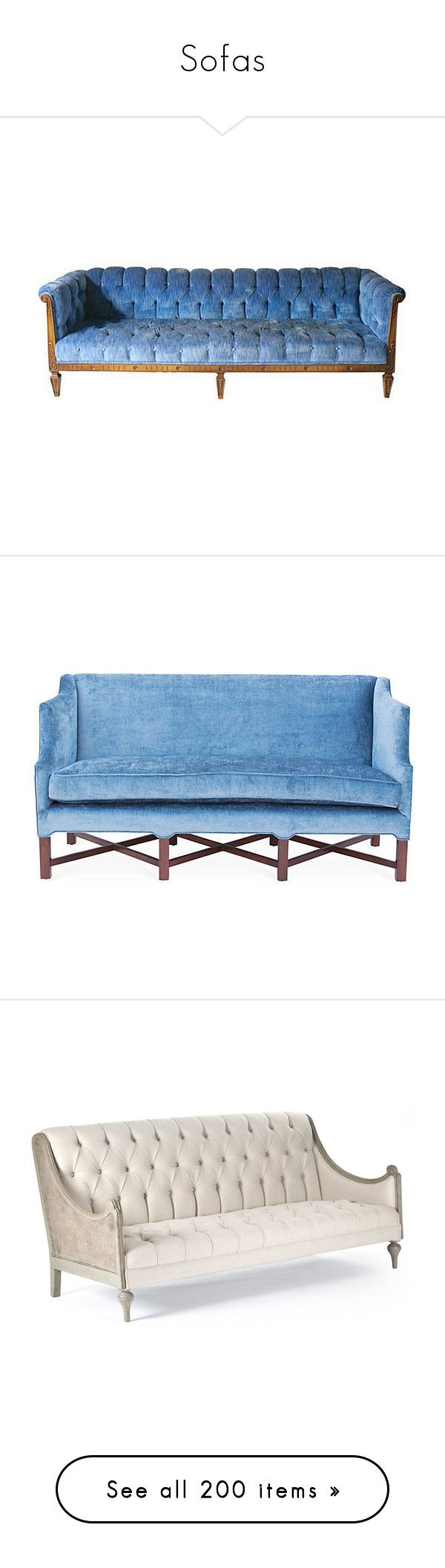 """""""Sofas"""" by annie-qiu ❤ liked on Polyvore featuring home, furniture, sofas, couch, chesterfield couch, blue loveseat, second hand sofas, second hand furniture, blue chesterfield sofa and barclay butera"""