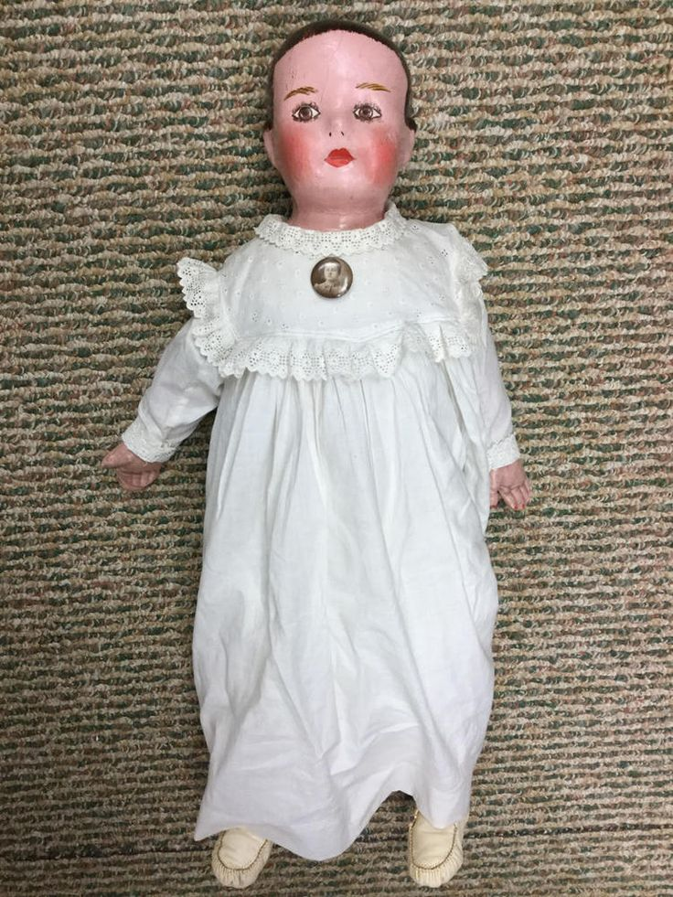 "ANTIQUE 24"" ELLA SMITH ALABAMA BABY OIL PAINTED CLOTH DOLL VERY HEAVY!"