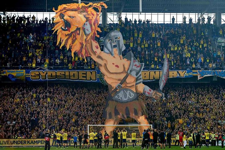 Best soccer Tifos from around the world: Brondby: Brondby IF fans display a gladiator holding up a lion's head during the team's Danish Alka Superliga match against FC Copenhagen, whose logo is a lion's head, on September 27, 2015.