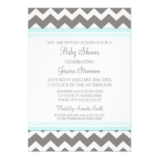 grey and white baby shower invites | Blue Gray Chevron Custom Baby Shower Invitations from Zazzle.com