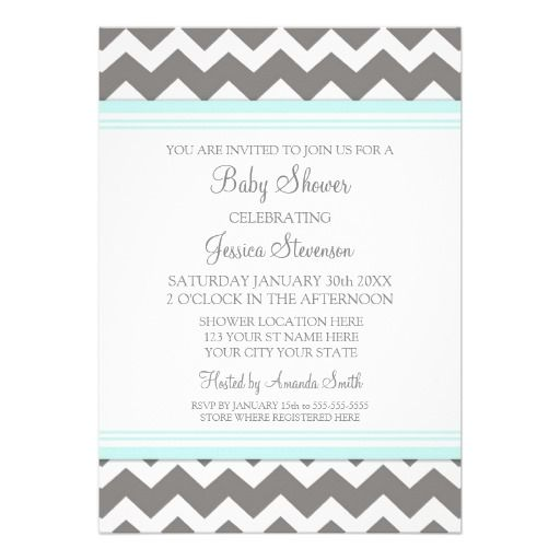 grey and white baby shower invites | Blue Gray Chevron Custom Baby Shower Invitations from Zazzle.com