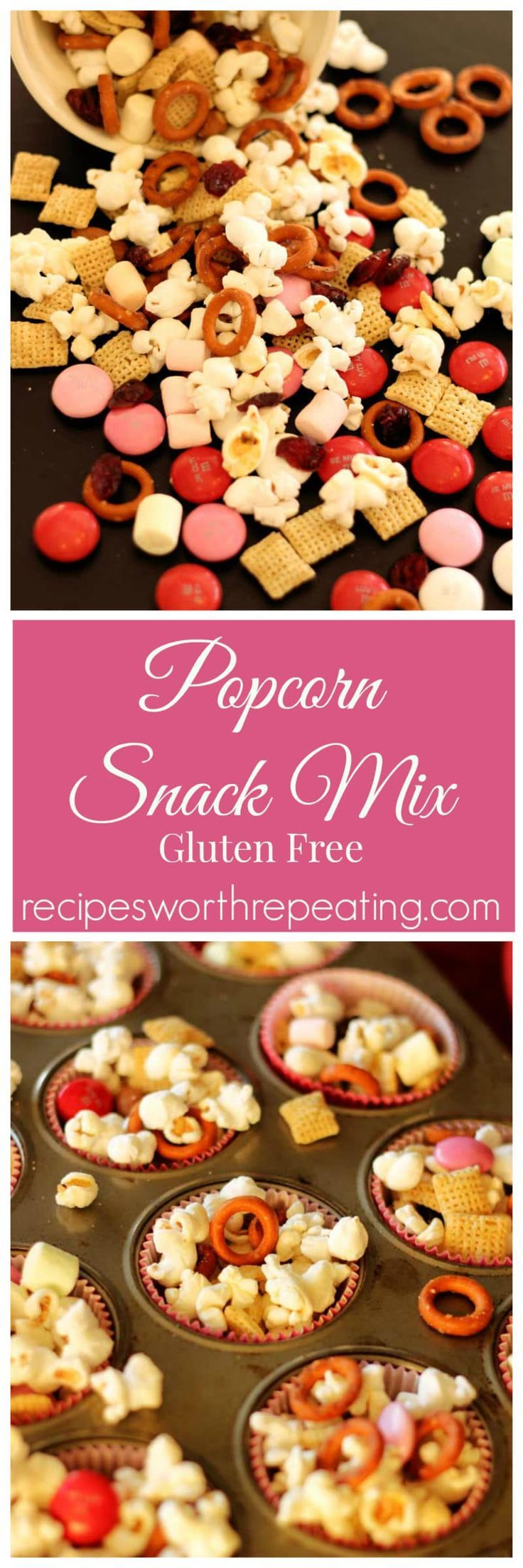 This Popcorn Snack Mix is delicious and packed full of protein! This snack mix contains protein packed popcorn, gluten free pretzels, rice chex, chocolate and more! Bursting with a sweet and salty flavor, this is a perfect snack that everyone can enjoy! Perfect for Valentine's Day! #popcorn #ValentinesDay #snack #snackmix #glutenfree | recipesworthrepeating.com