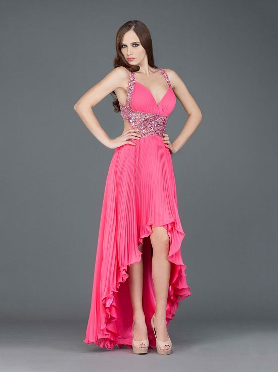Βραδινό ασσύμετρο εξώπλατο φόρεμα, πλισσέ, κεντημένο - Βραδυνά Φορέματα