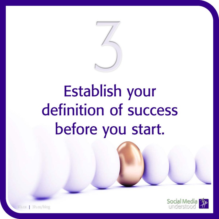 Establish your definition of success before you start. You can't run a race without training for it, it's very much the same in the world of social marketing. Have goals, objectives and strategies to guarantee success. Download eBook: Social Media Understood at http://3h.ca/ebook_social_media.php