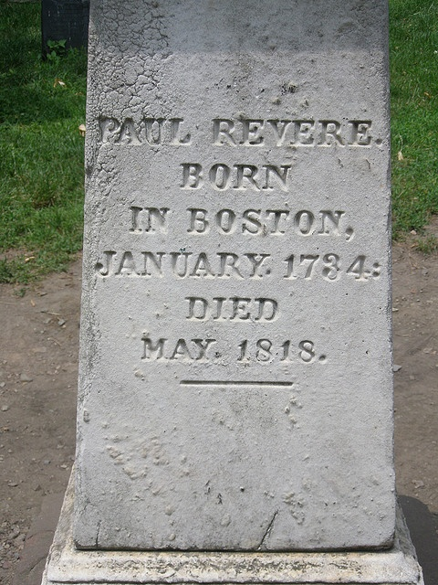 Paul Revere's grave stone.....Granary Burying Ground....Boston, MA.