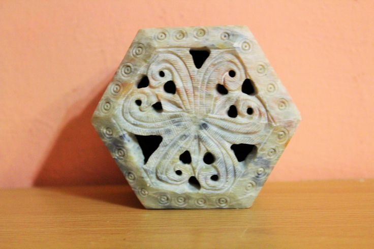 Vintage Natural Real Stone Trinket Box, Jewelry Holder, Ring Dish, Ornate Carved Marble Box by Grandchildattic on Etsy