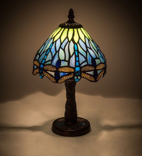 Dragonfly table desk lamp shades of blue genuine bronze base