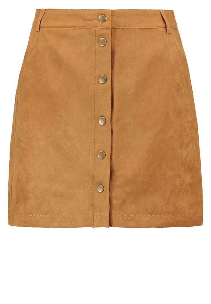 New Look Spódnica trapezowa zamszowa mini tan