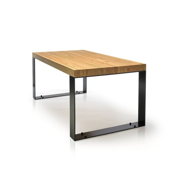 The Kai table is all about proportions, balancing the width of the steel legs and the thickness of the tabletop.  It provides a modern industrial look. Douglas Fir laminations tabletop, natural oil and wax finish on powder-coated black steel legs. Designed by Kirk Van Ludwig.