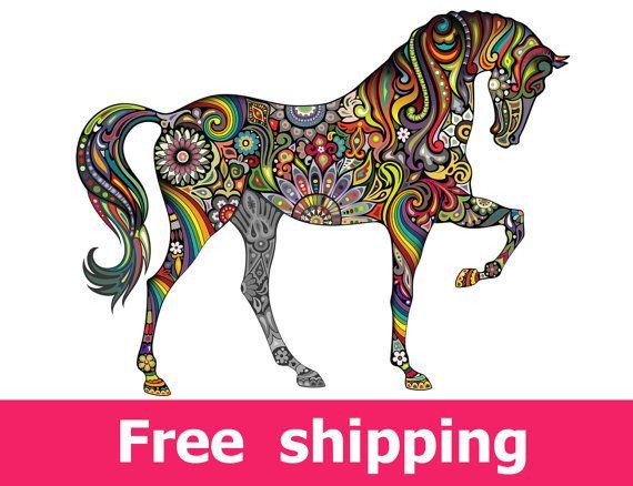 autoadesivo della parete astratta cavallo, cavallo colorato wall decal Decor, cavalli parete adesivo vinile removibile animale cavallo parete arte cartone animato. [FL047]