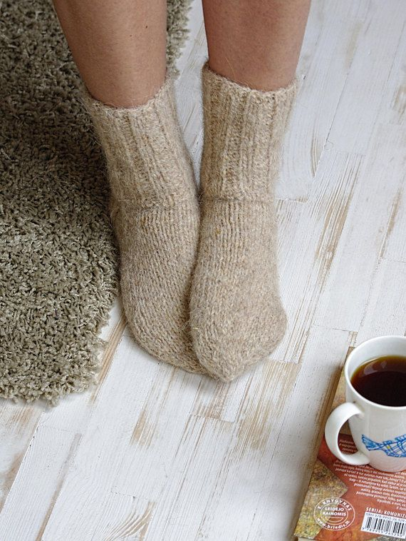 Hand knitted socks women wool socks beige yarn woolen socks
