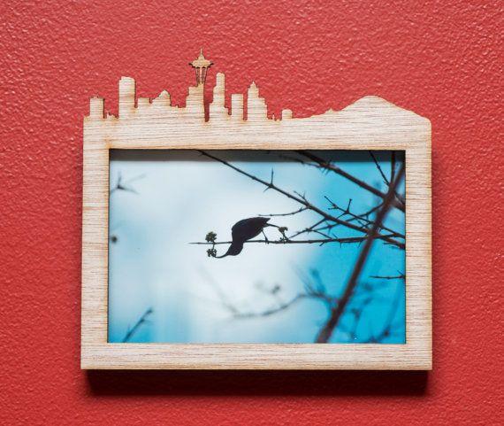 Seattle City and Mt Rainier Skyline Silhouette by EliseKoncsek