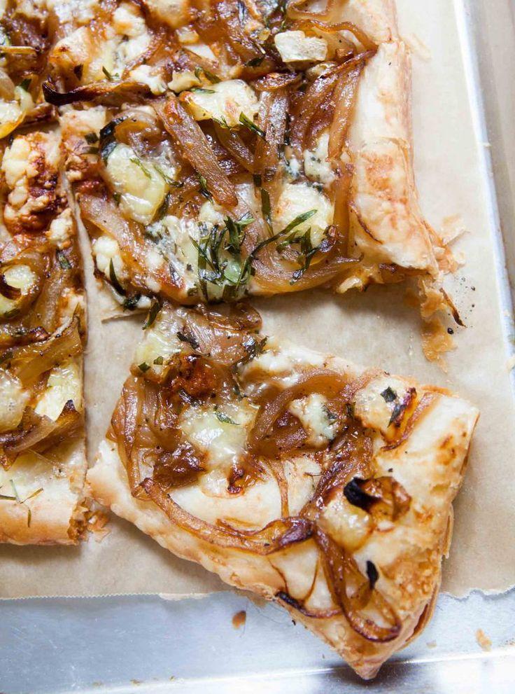 Caramelized Onion Tart with Gorgonzola and Brie Recipe   SimplyRecipes.com