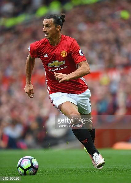 Zlatan Ibrahimovic of Manchester United in action during the Premier League match between Manchester United and Leicester City at Old Trafford on...