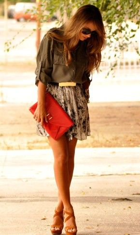 so cute. I love the colors: Shoes, Army Green, Floral Skirts, Style, Color, Cute Outfits, Summer Outfits, Red Clutches, Belts